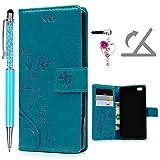 Geniric Flip Handy Hülle für Huawei P8 Lite Leder Wallet Cover Stand Case Card Slot Tasche Karteneinschub Magnetverschluß Kratzfestes (Blau Schmetterlings) mit Stylus Stift Staubstecker