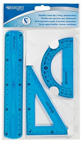 Westcott E-10301 00 Set di righelli flessibili, 3 pezzi, plastica, assortimento di 3 colori