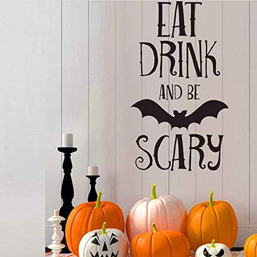 WUDHF Essen Trinken Be Scary Quotes Wandaufkleber Halloween Party Decals Startseite Raumdekoration Abnehmbare DIY Wandaufkleber (Kindergarten Halloween-party-essen Für)