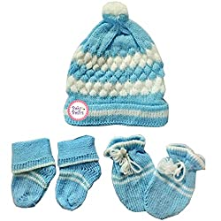 Baby Basics - Soft Woolen Cap Mitten Booties Set - Blue