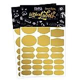 Küchen-Etiketten, GOLD - the Label Factory by favlov · 56 Kitchen Labels für Gewürzgläser, Eingemachtes, Geschenke, Spielzeugkisten & Marmeladen - Kreide-Tafel Folie zum Beschriften
