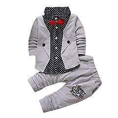 Idea Regalo - Lylita 2pcs Bambino bambino ragazzo Gentry vestiti set partito formale battesimo Wedding smoking bow vestito (Grigio, 2 anno)