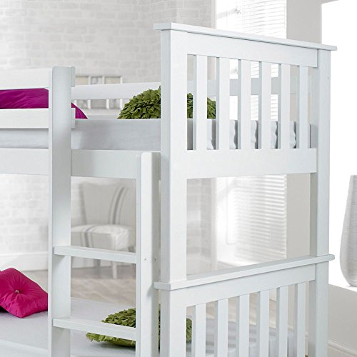 Happy Beds Atlantis White Finished Solid Pine Wooden Bunk Bed With 2x Pocket Sprung Mattress