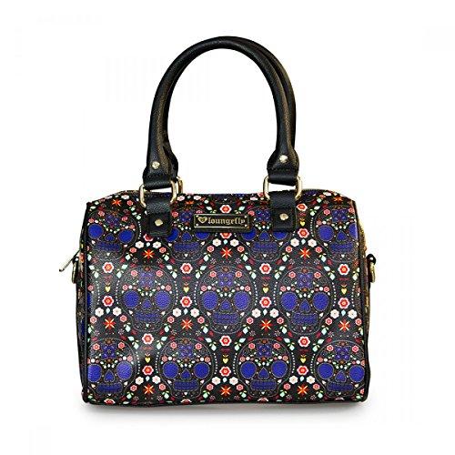 Loungefly Damen Tasche / Bowler Handtasche aus Kunstleder - Blue Sugar Skull Pebble Duffle Henkeltasche