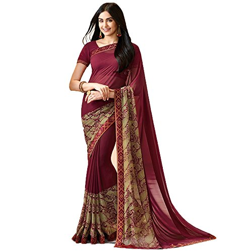 Macube Women's,Maroon color Georgette Latest Designer Offer Saree on Amazon In Low...