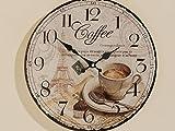 Uhr Bürouhr Uhr zum Hängen Küchenuhr Dekouhr Coffee D34 cm (Coffee)