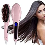RYLAN Hair Electric Comb Brush 3 in 1 Ceramic Fast Hair Straightener For Women's Hair Straightening Brush with LCD Screen, Temperature Control Display,Hair Straightener For Women (.Pink)