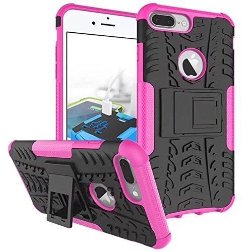 iPhone 7 Plus hülle,Lantier 2 in 1 Design Tire Series [Anti Blockier System] Dual Layer Hybird Tropfenschutz Defender Case Schutzhülle für iPhone 7 plus 5,5 Zoll Orange Tire Series Hot Pink