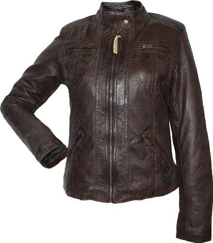 Damen Lederjacke Trend Fashion echtleder Jacke aus Lamm Nappa Leder dunkelbraun, Größe:40