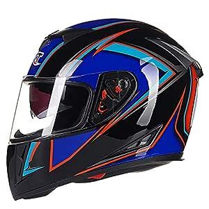 Leoie Men Motorcycle Helmet Four Seasons Double Lens Anti-Fog Full Helmet Black Blue XXL