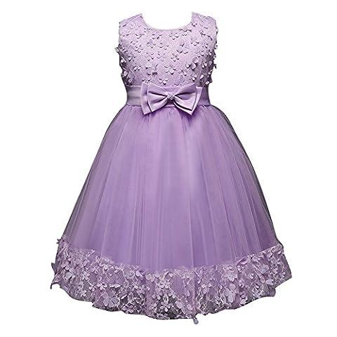 Juleya Lila Baby Mädchen Kleider mit Spitze PrinzessinTaufkleid Festlich Kleid Hochzeit Party Kleinkind Kinder Kleidung Tüll Festzug