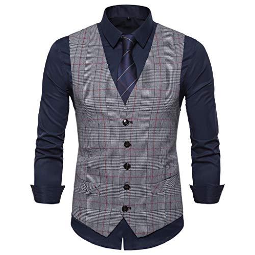 Herren Anzugweste Männer ärmellose Einreiher Hochzeit Business Anzug Weste Jacke Mantel Mode Casual Tops Coat S M L XL XXL CICIYONER