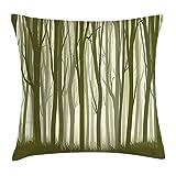 DDOBY Housse de Coussin forêt, Illustration du thème Mère Nature de la forêt Mystique avec Impression d'arbres, Taie d'oreiller décorative avec Accent carré, Vert armée et Vert Sauge