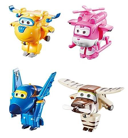 Super Wings – Transform-a-Bots – Donnie, Dizzy, Jerome & Bello – 4 Mini Avions Transformables 5 cm