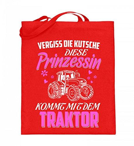 Hochwertiger Jutebeutel (mit langen Henkeln) - Landwirtschaft Shirt · Diese Prinzessin kommt mit dem Traktor · Geschenk mit Motiv für Landwirt Frauen Rubinrot