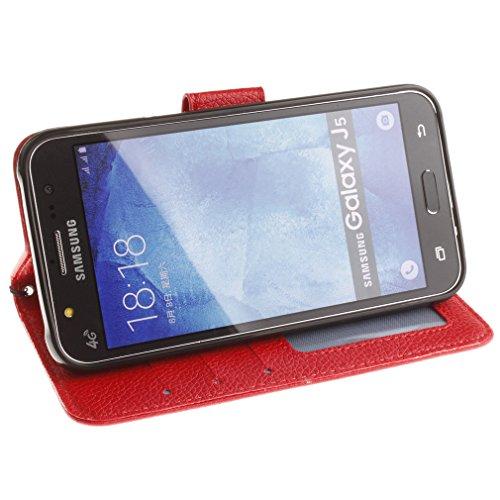 Samsung Mobiltelefon case Magnetisch PU-Leder Geldbörse Flip Wallet Cover in Book Style Stand Case für Samsung Galaxy J1 mini Lila Rot