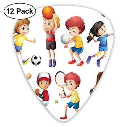 Guitar Picks - Abstract Art Colorful Designs,Children Playing Soccer Baseball Basketball Volleyball Golf Tennis Hobby Theme,Unique Guitar Gift,For Bass Electric & Acoustic Guitars-12 Pack - Vampir-golf
