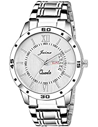 Jainx Silver Day And Date Analog Watch For Men & Boys - JM313