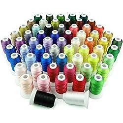 Simthreads 63 Farben Polyester Maschinen Stickgarn - 500 Meter, für Brother/Babylock / Janome/Kenmore / Singer Stickereimaschine