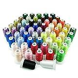 Simthreads 63 Farben Polyester Maschinen Stickgarn - 500 Meter, für Brother/Babylock/Janome/Kenmore/Singer Stickereimaschine