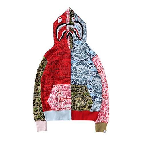 Manbozix Herren Doppel Hooded Sweatshirt Kapuzenpulli Lässig Camouflage Shark Hoodie Gedruckt Kapuzenpullover mit Buchstaben M -