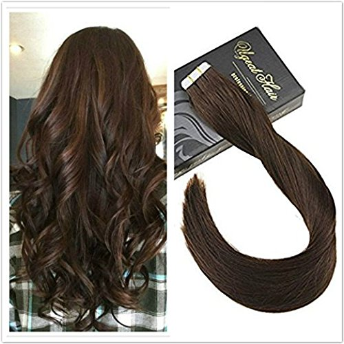 Ugeat Dream 18 Zoll/45cm Tape in Extensions Haar Tressen 4# Dunkelbraun 50g/20pcs Unprocessed Glatt Remy Brasilianich Tape in Seamless Haarverlangerung (Menschliches Haar Flechten Erweiterungen)