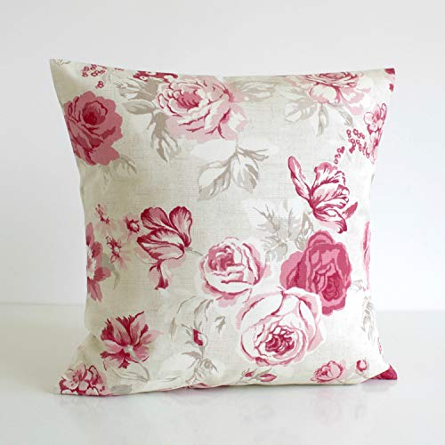 H34565ard Shabby Chic Überwurf Kissenbezug Dekokissen Kissenbezug Floral Kissen Sham Sofa Kissen Country Blumen Himbeere -