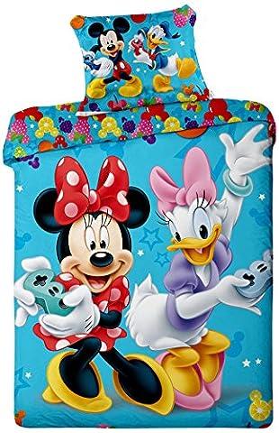 Parure de lit Mickey Minnie Donald Daisy Games Disney - Housse de couette réversible lit 1 personne