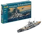 Revell Modellbausatz Schiff 1:1200 - Battleship Scharnhorst im Maßstab 1:1200, Level 4, originalgetreue Nachbildung mit vielen Details, 05136
