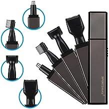 Freebily Set Kit de Afeitado Conjunto de Rcortadora de Barba Ceja Patillas Nariz Afeitadora Eléctrica Recargable Impermeable