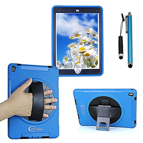 Tablet Hinweis: 360 Tasche (Cellular360 Apple iPad Pro 9.7 Schock-und Drop-proof Hülle, Kopfstützen-Halterung mit einem Griff, einem Schultergurt und einem 360 Grad drehbaren Standfußdrehbaren (Schulterriemen-Blau))