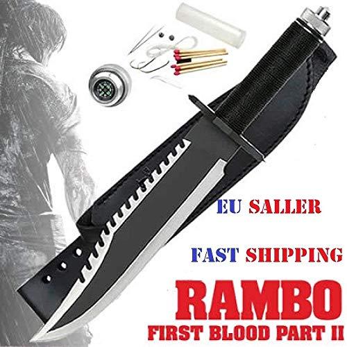 Rambo Deluxe Messer II mit Ledertasche und Gürtel Überlebenswerkzeug Jagd Deluxe Messer