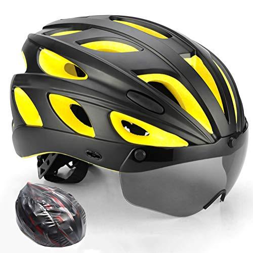 HELME Fahrradhelm, Gebirgsradhelmschutz mit Sonnenbrille, Ultralight-Stabiler Rennradhelm für Erwachsene, 57-62 cm, mit Regenschutz,Yellow