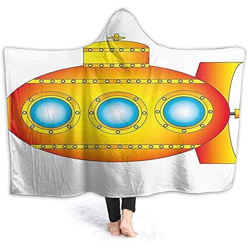 BeiBao-shop Decke für Mädchen Sea Theme Submarine Hintergrund Print Orange Gelb LargeBlanket Wrap mit Kapuze für Schlaf oder so tun, als Spielen -