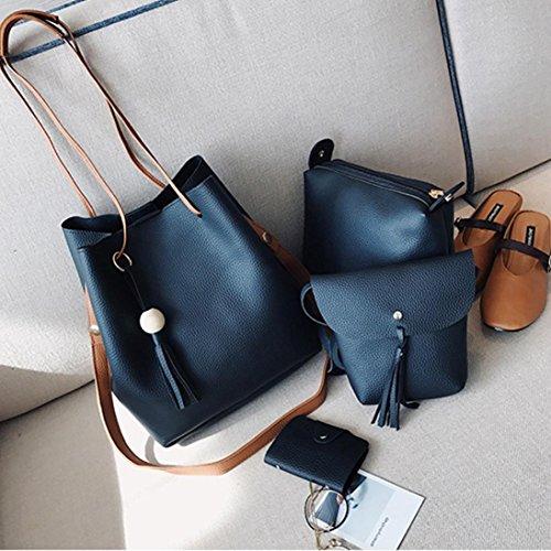 Moda Borsetta Borse Spalla, Donne Quattro Set Borsetta Borse A Quattro Pezzi Tote Bag Crossbody by Kangrunmy Nero