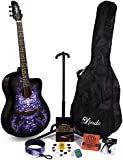 Lindo 933C Alien Purple Acoustic Guitar & Full Accessory Pack (Gig bag, stand, strings, strap, 10 plectrums, DVD, clip-on tuner)