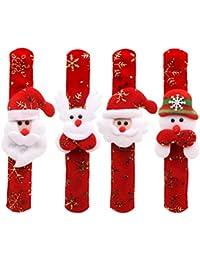 STOBOK 6pcs Christmas Slap Bracelet Snowman Santa Claus Reindeer Wristband Christmas Stocking Stuffer Party Favor