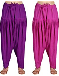 Crafts 100% Pure Solid Cotton Semi Patiala Salwar Bottoms Indoor Outdoor For Women's & Girls( Free Size , Color... - B0762JY5C6
