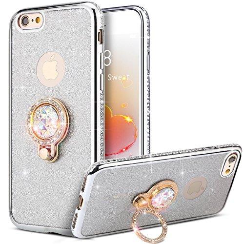 KunyFond Glänzend Glitzer Schutzhülle Silikon Hülle Ring Stand Holder Crystal Clear TPU Handyhülle Case Durchsichtig Transparent Weichem Flexible Tasche Bumper Schale für iPhone SE/5S/5 (Silber) - Stand Crystal