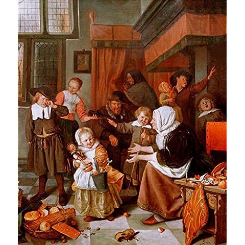 "Stampa artistica / Poster: Jan Havicksz. Steen ""Nikolausabend"" - stampa di alta qualità, immagini, poster artistici, 85x100 cm"