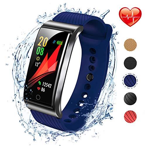 Imagen de iswim pulsera actividad, pulsera inteligente con pulsómetro pulsera deportiva y monitor de ritmo cardíaco monitor de actividad azul de sílice