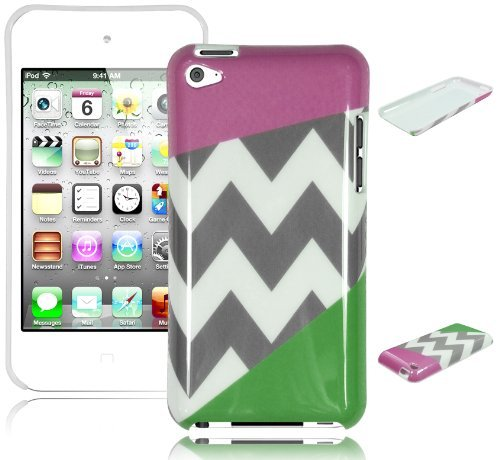 Bastex Snap On Case für Apple iPod Touch 4 - Lila & Grün Chevron Hard Cover
