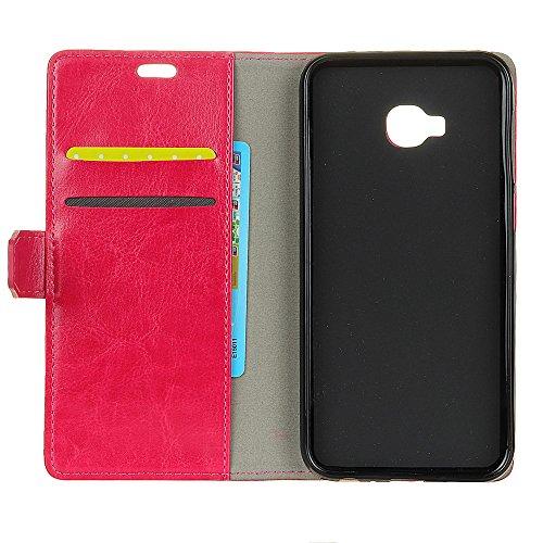 Crytal Grain Texture Solid Color Premium PU Leder Folio Stand Case Geldbörse Tasche Tasche mit Kartensteckplätzen für Asus Zenfone ZD552KL ( Color : Black ) Rose