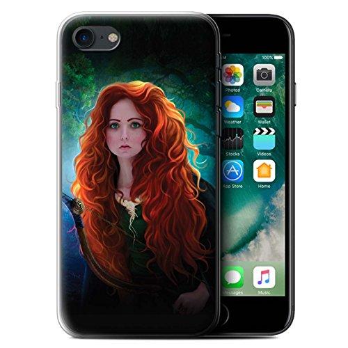 Officiel Elena Dudina Coque / Etui Gel TPU pour Apple iPhone 7 / Cheveux Dorés Design / Caractère Conte Fées Collection Princesse