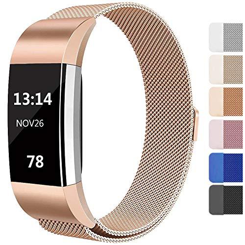 Lukasa Für Fitbit Charge 2 Armband, Einstellbare Metall Edelstahl Ersatzarmband mit Magneten Sperren für Fitbit Charge 2