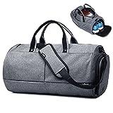 Reisetasche Wochenendtasche Sporttasche Duffels, 3 in 1 Multiuse wie Umhängetasche Handtasche und Crossbody Bag, Multi Taschen Wasserdicht und Leicht Geschäftsreise für Herren Damen Unisex (Grau)