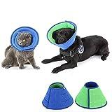 HanryDong Atmungsaktives Halskrausen für Katzen Hunde, Mesh-Elizabethan-Halsband, blaues, verstellbares, schnellere Heilungstier-Wiederherstellungskegel, weiche Kanten, Anti-Biss / Leck für Kaninchen