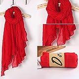 ruiruiNIE Mujeres Color sólido Bufanda Larga Abrigo Lino de algodón Vintage Gran mantón Hijab Elegante - Rojo