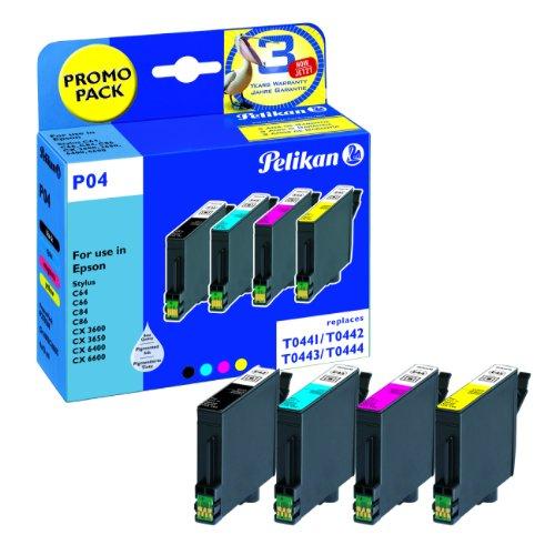 Pelikan P04 Pack de 4 Cartouches compatibles pour Epson T0445 T0441 T0442 T0443 T0444 4x13ml Noir Cyan Magenta Jaune