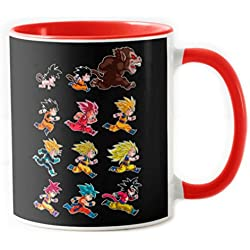 4003-Taza Cerámica, Dragon Ball-Evolutions of Goku (albertocubatas) Roja